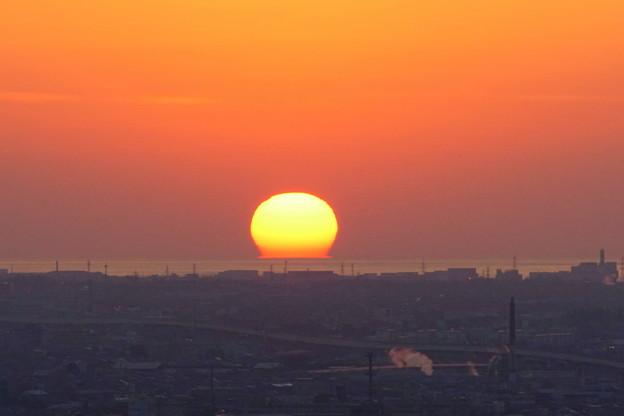 日本海に沈むだるま夕日(1)
