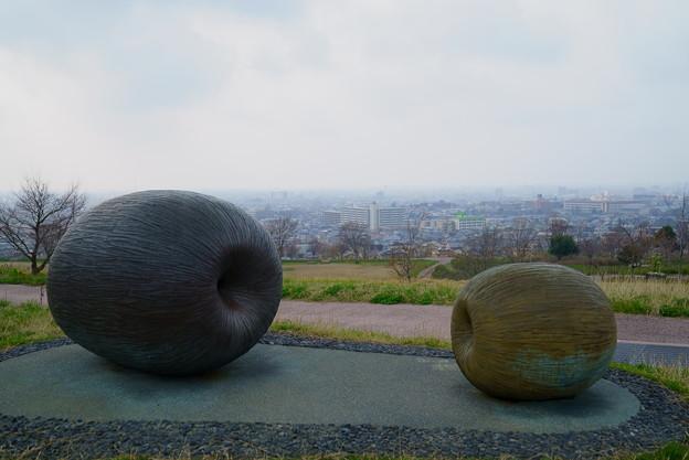 丘の上の巨大なりんご