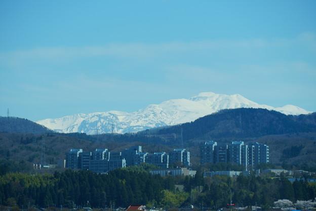 白山を背景に 北陸先端科学技術大学院大学