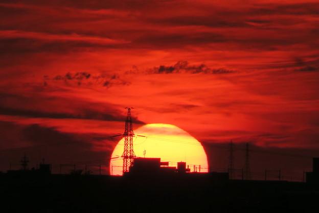 Photos: 夕陽と鉄塔
