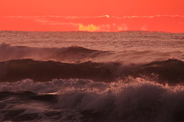 千里浜に夕日が沈んだ後