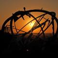宇宙の卵と夕日