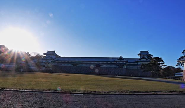 金沢城 夕日と光芒