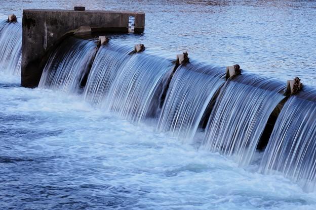 犀川 段になって流れる 堰「セキ」