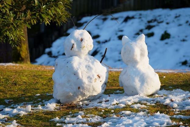 公園の雪ダルマ