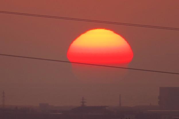 変形の夕日