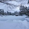 Photos: 雪の霞が池 内橋亭と徽軫灯籠