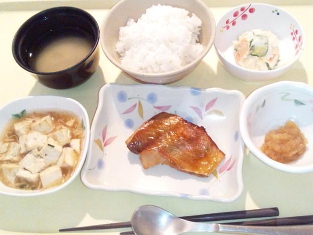 3月24日夕食(赤魚の照り焼き) #病院食