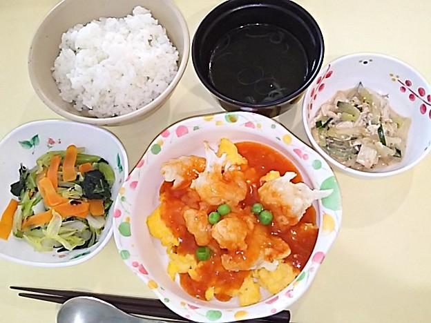 5月20日夕食(エビと玉子のチリソース) #病院食