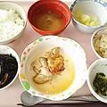 8月12日昼食(鶏肉のネギ醤油掛け) #病院食