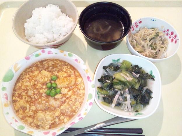 10月22日夕食(エビと玉子のチリソース) #病院食