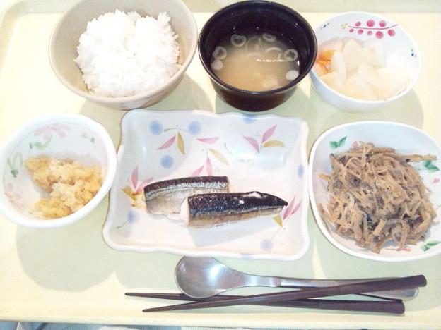 11月21日夕食(さんま塩焼き) #病院食