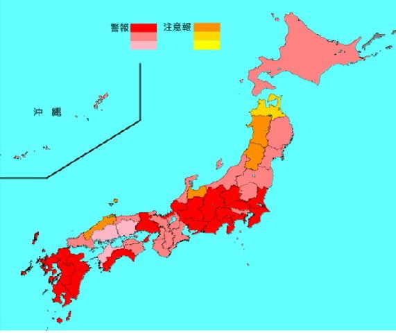 2019年第2週のインフルエンザ流行マップ。ほとんどの県で赤色になりました。いよいよ気をつけなくてはなりません。 #インフルエンザ
