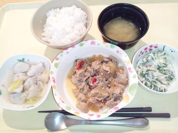 1月21日夕食(豚肉のくわ焼き) #病院食