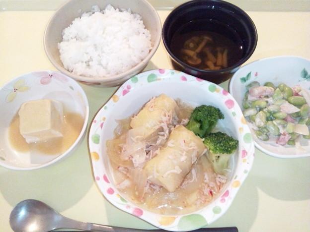 10月10日夕食(和風ロールキャベツ) #病院食