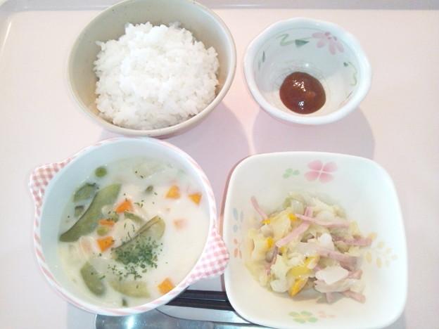 10月11日朝食(シーフードのクリーム煮) #病院食