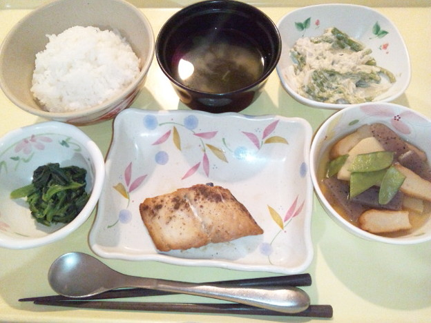 10月11日夕食(鰆の山椒焼き) #病院食