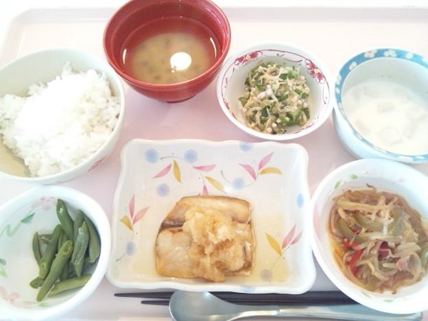 10月14日昼食(鯖のおろしポン酢ソース) #病院食