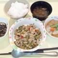 10月16日夕食(豚肉とアスパラのにんにく炒め) #病院食