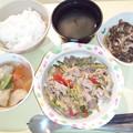 1月16日夕食(豚肉とアスパラのにんにく炒め) #病院食