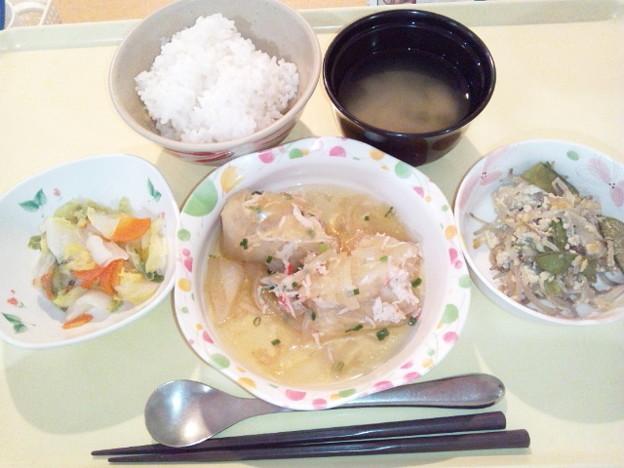 2月12日夕食(和風ロールキャベツ) #病院食