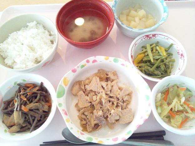 2月15日昼食(豚肉の生姜焼き) #病院食