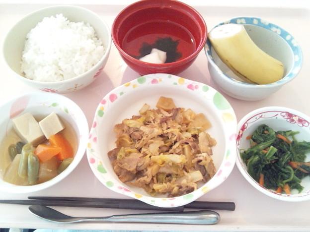 2月21日昼食(豚肉とキャベツの味噌炒め) #病院食
