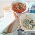 8月5日朝食(ソーセージと野菜のトマト煮) #病院食