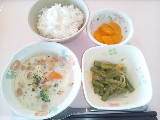 8月7日朝食(シーフードと野菜のクリーム煮) #病院食