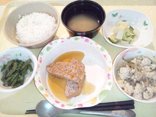 8月12日夕食(和風ミートローフ) #病院食