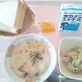 8月13日朝食(あさりとじゃが芋のクリーム煮) #病院食