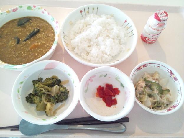 9月24日昼食(茄子とひき肉のカレーライス) #病院食