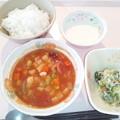 9月27日朝食(シーフードと豆のトマト煮) #病院食