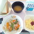 9月28日朝食(ソーセージと野菜の炒め物) #病院食