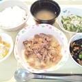 9月28日夕食(豚肉の生姜焼き) #病院食