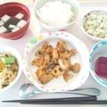 10月1日昼食(鶏肉と蓮根の味噌炒め)
