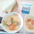 10月26日朝食(ミートボールのコーンクリーム煮) #病院食