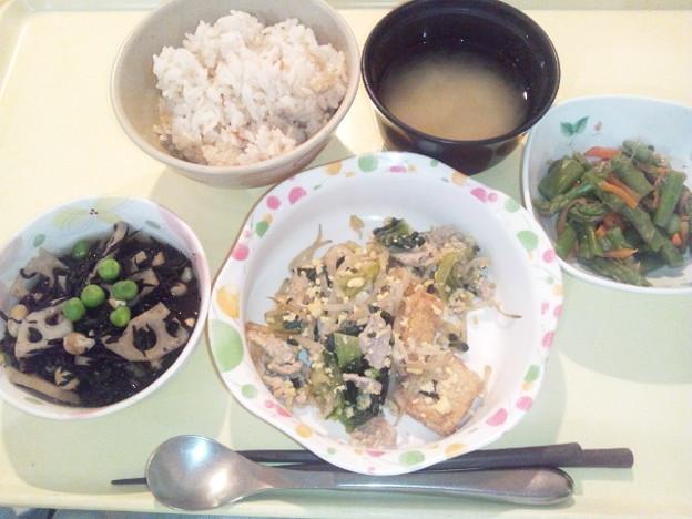 11月30日夕食(厚揚げと青梗菜のチャンプルー) #病院食