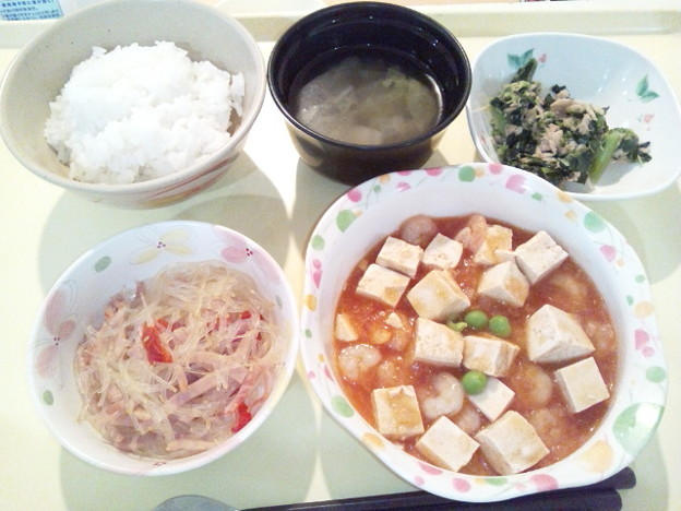 Photos: 12月2日夕食(海老と豆腐のチリソース) #病院食