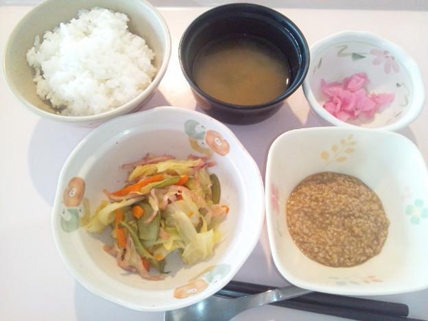 12月4日朝食(ハムと野菜のソテー) #病院食