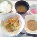 Photos: 12月4日朝食(ハムと野菜のソテー) #病院食