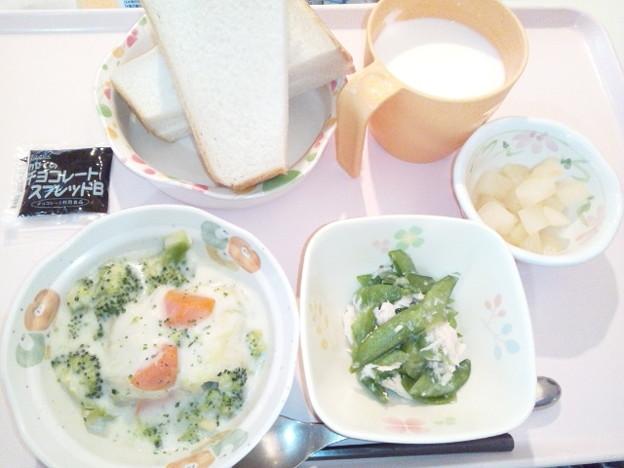 12月5日朝食(ロールキャベツのクリーム煮) #病院食