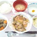 1月17日昼食(豚肉とニンニクの芽のオイスター炒め) #病院食