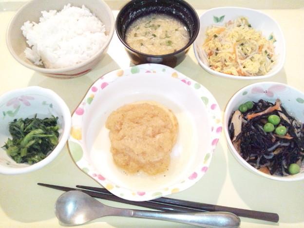 1月24日夕食(和風おろしハンバーグ) #病院食