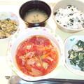 1月25日夕食(鶏肉のトマト煮・わかめ御飯) #病院食