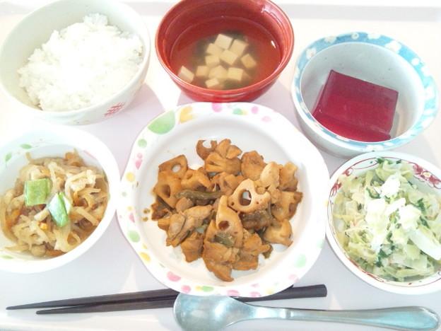 1月26日昼食(鶏肉と蓮根の味噌炒め) #病院食