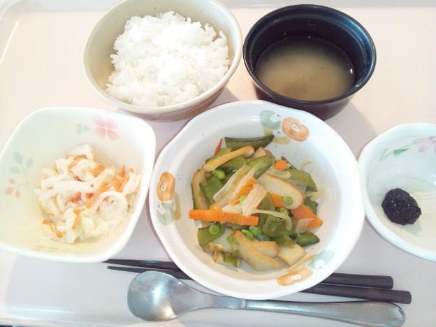 2月23日朝食(さつま揚げの炒め物) #病院食