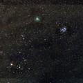 ウィルタネン彗星(46P)とプレアデス星団(M45)とヒアデス星団