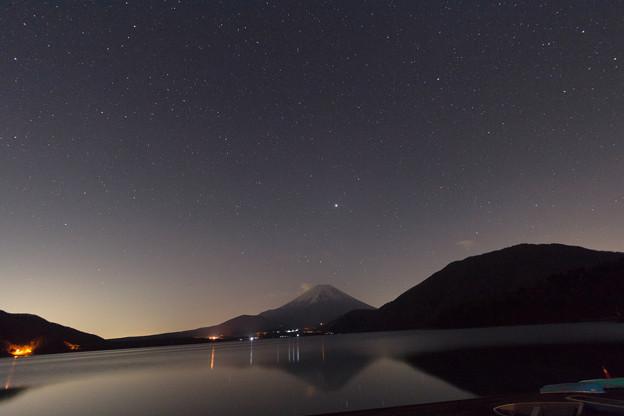 富士山と湖と木星