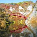 紅葉の中の赤い橋